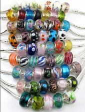 10pcs Mix Silver P Murano Glass Ceramics Crystal Beads Charms Fit Bracelets