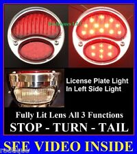 LED Stainless Steel Taillights w/ License Plate Light Hot Rod Rat Rod Universal