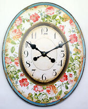 LARGE OVAL SHABBY CHIC / RETRO ROSE / FLOWER DESIGN WALL CLOCK.NEW & BOXED