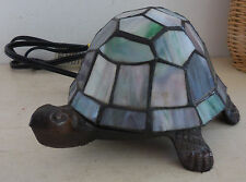 VINTAGE CAST IRON LEAD GLASS TURTLE TABLE LAMP NIGHT LIGHT