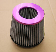 4' INCH PURPLE INLET HIGH FLOW SHORT RAM/COLD INTAKE ROUND CONE MESH AIR FILTER