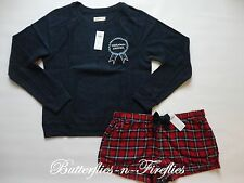 NWT HOLLISTER by Abercrombie 2pc Pajama Set Sweatshirt Flannel Shorts Navy L