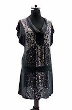 WAREHOUSE PURE SILK  BLACK GREY ANIMAL PRINT 20'S STYLE DRESS  TUNIC 16 44