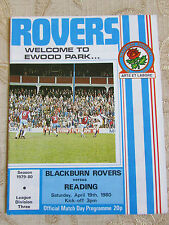 El Oficial Match Day Programa De Blackburn Rovers & lectura 1980