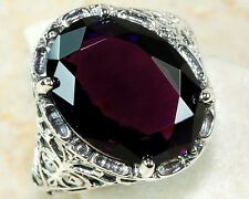 7CT Amethyst 925 Solid Sterling Silver Edwardian Style Ring Sz 8,F5-10