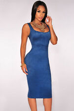 Womens blue faux suede midi dress bodycon stretch towie celeb size 8 & 10