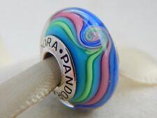BELLISSIMO Pandora Vetro Di Murano Charm Bead Rainbow Swirl Timbrato Argento s925 ALE