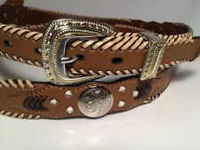 Womens Brown Leather Concho Rhineston Belt Western Braided Cowgirl Sm Southwest