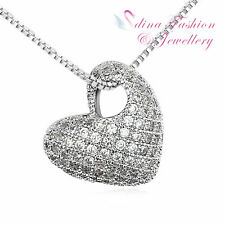 18K White Gold Plated Czech Crystal Studded Heart Silver Necklace Jewellery