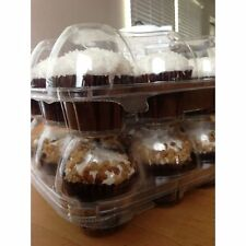 25pcs 6 Cupcake Cake Case Muffin Holder Box Container Carrier Clear Plastic 150