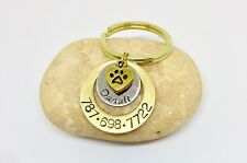 Personalized Handstamped Tag for puppies Dog Tag with gold dog paw charm Pet ID