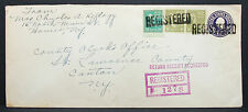 US Registered Stationery Cover Homer Canton Pair Paar 8c GS USA R-Brief (H-7882+