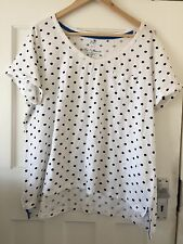 F&F WHITE SPOTTED 100%COTTON T-SHIRT TOP SIZE 20-22 PLUS SIZE ♡♡♡