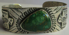 VINTAGE NAVAJO INDIAN SILVER GREEN TURQUOISE APPLIED THUNDERBIRD CUFF BRACELET