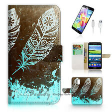 Samsung Galaxy S5 Print Flip Wallet Case Cover! Dream Catcher Feather P0421