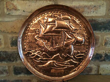 "Superb Circa 1900 Arts & Crafts Art Nouveau 14"" Newlyn Copper Galleon Charger"