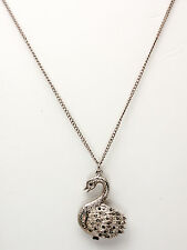 MAJESTRON: ANTIQUE MARCASITE DUCK WATCH PENDENT WITH NECKLESS CHAIN