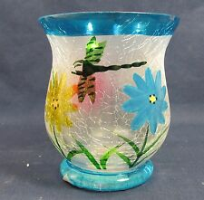 Dragonfly & floral Votive Candle Holder Hand Painted Frosted Crackle Glass B