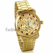Luxury Automatic Mechanical Skeleton Yellow Gold Tone Men Sport Army Wrist Watch
