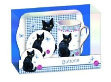 Buttons Black Cat Butterfly Teatime Gift Set Mug Coaster & Tray CLEARANCE SALE
