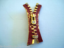 BROCHE ANCIENNE VINTAGE ZIP FERMETURE ECLAIR MODE COUTURE * Collection Privée *
