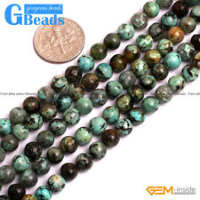 6mm African Turquoise Gemstone Round Beads For Jewelry Making Free Shipping 15""