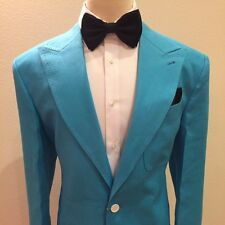 BLUE 2 BUTTON PEAK LAPEL LINEN SUIT WITH PATCH POCKET MADE IN ITALY