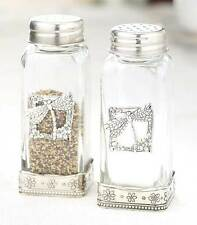Dragonfly Nature Salt and Pepper Shaker Set Glass Silver Metal Accents NEW
