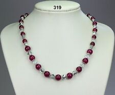"Pretty rose jade stone necklace, pinky-red 8-10mm beads, silver crystals 20""+2"