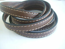 1 Meter High Quality 10mm Flat Brown PU Leather Stitched Leather Cord