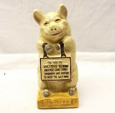Vintage Style Cast Iron Thrifty Piggy Bank Wise Pig Save a Penny Painted Repro