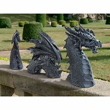 MEDIEVAL GOTHIC 2 FT LONG DRAGON SCULPTURE YARD STATUE GARDEN HOME DECOR NEW