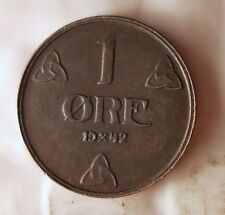 1942 NORWAY ORE - Nazi Occupation Coin - WW2 Excellent - NORWAY BIN #4