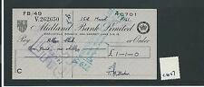 wbc. - CHEQUE - CH57- USED -1960's - MIDLAND BANK , EARLSFIELD SW18 - old style