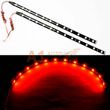 "2x NEW 30cm/12"" RED 5050 12SMD High Power Flexible LED Car Strips Brake Light"