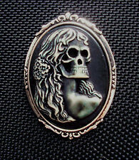 Day of Dead Girl Cameo Brooch Silver Tone Setting 48mm