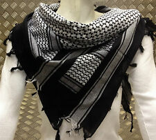 100% Cotton Shemagh / Arab Scarf / Pashmina / Wrap / Sarong. Black & White - NEW
