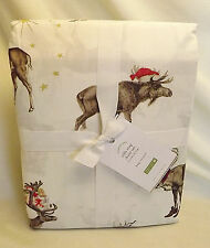 NWT Pottery Barn Silly Stag Sheet Set KING Reindeer Christmas