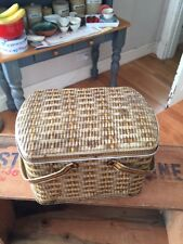 Vintage Biscuit / Confectionary Tin – Wicker Basket Design with Handles – Cute!