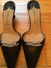 Manolo Blahnik Black Mules Slides With Silver Chain Size 37 1/2