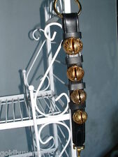 4 Bell Solid Brass Sleigh Bells Heavy Double Strap Snap End