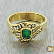 Vintage Estate 18k Solid Yellow Gold .35ct Emerald .40ctw Diamond Band Ring