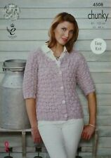 KNITTING PATTERN Ladies Easy Knit 3/4 Sleeve Round Neck Cardigan Chunky KC 4508