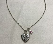 "Disney ""Tink"" Tinkerbell Heart Pendant w/ 16"" Silver-Tone Necklace"