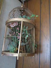 "Large Metal & Wood Bird Cage with flowers inside, Approx. 22"" tall 11.5 Dia."