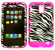 HYBRID Silicone Cover Case+Samsung Galaxy S2 i727 SkyRocket Trans Zebra on Pink