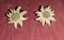 Art Deco Celluliod Eidelweiss Alpine  Flower Clip-on Earings.