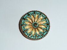 Gorgeous Czech Glass Flower Button - Gold w/ Gold & Turquoise Color Finish 31mm