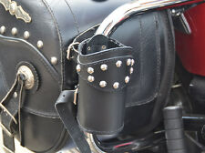 (P) LEATHER MOTORCYCLE DRINK CUP CAN BOTTLE HOLDER POUCH