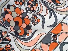 Vintage 70s Silky Polyester Op Art Psychedelic Floral Fabric Orange 2+ Yds